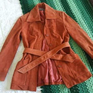 70s Genuine Suede Collared Trench Coat